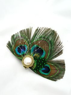 Peacock feather fascinator hair clip or choose headband or comb - Edna design - Available in other colors too
