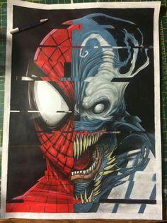 Spiderman/Venom glitch painting #greggmasonart