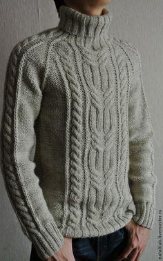 Knitted warm sweater Marko – shop online on Livemaster with shippingFor Men handmade. Knitting Pullover, Handgestrickte Pullover, Baby Knitting, Knitting Sweaters, Winter Outfits Men, Warm Outfits, Aran Knitting Patterns, Crochet Patterns, Diy Mode