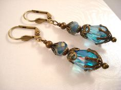Downton Abbey Earrings  Edwardian  Blue  by SherisUniqueBoutique