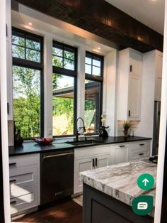 Cabinets and dark island, countertop Home Kitchens, Home, Modern Farmhouse Kitchens, Kitchen Design, Kitchen Remodel, Kitchen Dining Room, Dining Room Combo, Kitchen Layout, Contemporary Kitchen