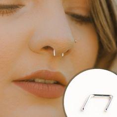 Small Septum Retainer Piercing Septum Silver Piercing, Gold Nose Ring, U Shape Hanger Nose Ring, Nose Piercing, Piercing Retainer Cute Ear Piercings, Piercing Ideas, Piercing Retainers, Tiny Nose Studs, Gold Nose Rings, Custom Jewelry, Hanger, Small Nose, Piercing
