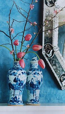 I love the blue and white with just a touch of reddish-orange.