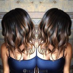 Black and brown balayage hairstyle