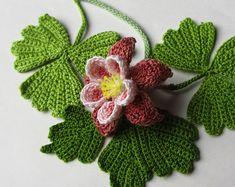 http://www.awin1.com/cread.php?awinmid=6939&awinaffid=255809&clickref=pinCrochet&p=https%3A%2F%2Fwww.etsy.com%2Flisting%2F291394673%2Fcrochet-columbine-pattern-instant Crochet Columbine PATTERN Instant Download PDF Pattern Photo Tutorial Realistic Irish Crochet Flower Patterns Embellishment Applique Fiber