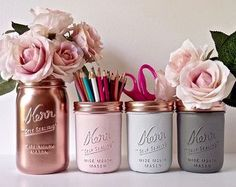 Dorm decor / office storage / mason jars / copper pink gray / utensil holder / desk decor / college / rose gold / painted mason jar,Dorm Decor Pink Copper Gold Mint Cream Painted by BeachBlues. Dorms Decor, Dorm Room Decorations, Diy Room Decor For College, Wedding Decorations, Diy Dorm Decor, Diy Room Decor For Teens, Wedding Ideas, Diy For Room, Diy Room Decor Tumblr