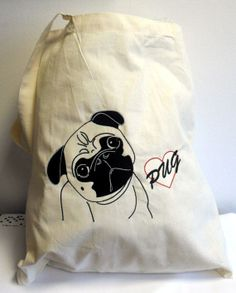People in the UK and the USA love our Pug Love Embroidery Shoulder Tote Bag on Etsy - Just £8.00 for a  some puggly wuggly! #pug #embroidery