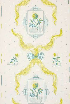 'Rose and Lace' wallpaper, designed by Edward Bawden and printed by Cole & Son Ltd, c.1938.