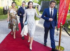 """On May 29, 2017, Crown Prince Frederik and Crown Princess Mary of Denmark, Crown Princess Victoria and Prince Daniel of Sweden attended a official dinner held on the occasion of the event """"Liveable Scandinavia"""" at the Eric Ericson Hall in Stockholm."""