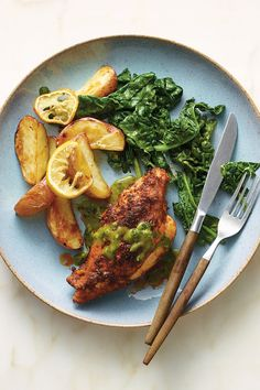 NYT Cooking: Bobby Flay served a version of this chicken at Bolo, the elegant little jewel box of a restaurant he had on 22nd Street until 2007, when the building that housed it was sold. It came pan-roasted beneath a blanket of what Flay called Spanish spices, with a vibrant green mint sauce rich with chiles, honey, salt and mustard. The dish was one of the restaurant's best%2...