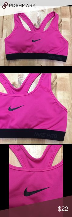 Nike Dri-Fit Pink Lightly Padded Sports Bra Excellent Condition Pink with black swoosh and accents Lightly padded (removable) Garment care instruction tag is cut out (pictured) Nike Intimates & Sleepwear Bras