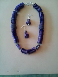 Purple Wood and Genuine Amethyst Two Piece Set