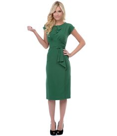 Stop Staring Green Timeless Fitted Wiggle Dress - Unique Vintage - Cocktail, Pinup, Holiday & Prom Dresses.