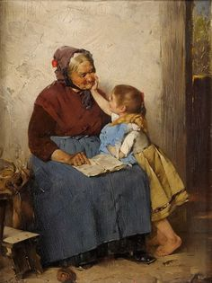 "Max Rentel (Germany, 1850 - 1911) ""Grandma is the best"""