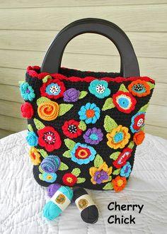 Brightly Colored Crocheted Flower Handbag using Lion Brand yarn.