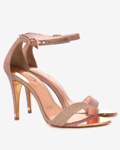 Shimmer ankle strap sandal - Rose Gold | Shoes | Ted Baker