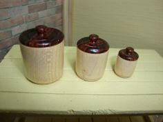 """Nice set of dollhouse 1:12 scale canisters with removable lids & fillable by """"Oppi"""" Me!"""