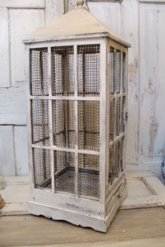 Large distressed white birdcage French farmhouse wood and wire shabby decor 38 inches tall Anita Spero Diy Bird Cage, Bird Cages, Bird Feeder, The Caged Bird Sings, Bird Aviary, Pet Cage, French Farmhouse, Bird Feathers, Beautiful Birds