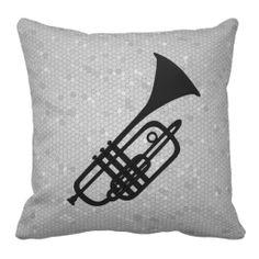 Trumpet silhouette pillow
