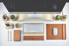 Grovemade's leather & wood desk accessories-