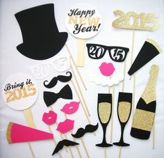 20 New Years Photo Booth Props  2015 Photobooth - 2015 new year ideas, new years, photo booth props  #2015 #new #year #party