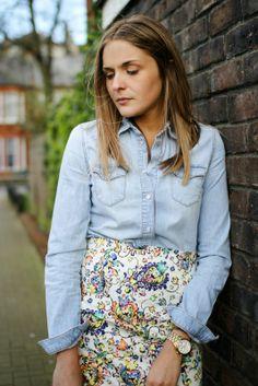 denim chambray shirt + patterned pencil skirt