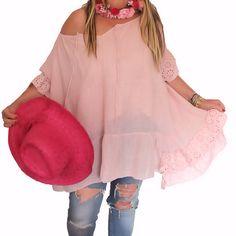 Tunique grande taille rose boheme romantique www.soobysophie.com