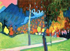 Autumn Study in Oberau,1908,by Wassily Kandinsky