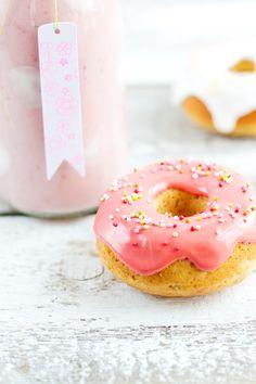 ... mini donuts with strawberry milkshake ...