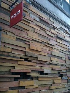 Recycled wood wall cladding