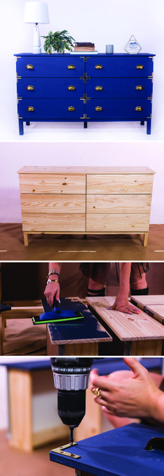 Ikea hack!! Update these drawers into a steampunk-inspired standout piece in a sophisticated navy blue! http://mrkate.com/2017/02/07/steampunk-dresser-ikea-hack/