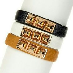 pyramid stud faux leather bracelet T&J DESIGNS faux leather bracelet with 3 gold tone pyramid shaped studs. brand NWT retail and never worn. women's adjustable with 2 snap closures to fit most wrist sizes comfortably. 3 colors available as of now black, white, and camel. price includes 1 bracelet only. material content is base metals and faux leather.  no trades. T&J Designs Jewelry Bracelets