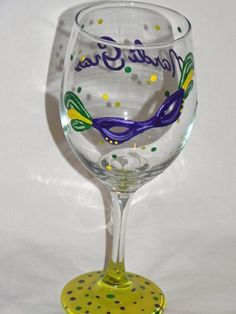 Mardi Gras Painted Glasses by classyetsassy on Etsy, $13.00