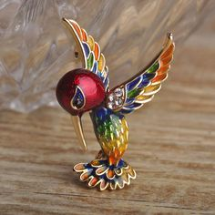 Enamel Bird Brooch With Crystal Exquisite Gold Plated Colorful Animal Brooch Metal Alloy Broche Hat Pendant Women Kids Clips