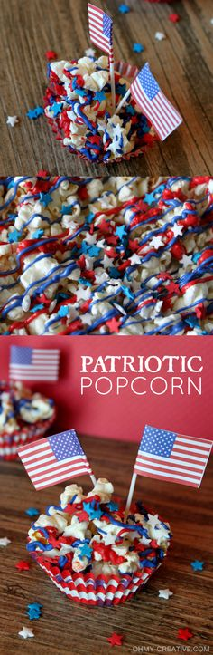 Get in the patriotic spirit with this Stars and Stripes Popcorn Dessert! It's super easy to make - a great treat for all ages!  |  OHMY-CREATIVE.COM