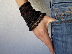 Black and red beaded cuff  bracelet with by irregularexpressions