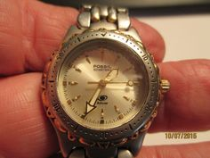 WOMEN'S FOSSIL CASUAL QUARTZ WATCH WITH ROTATING BEZEL,WR50 METERS,SS,AM-3118 #Fossil #Casual