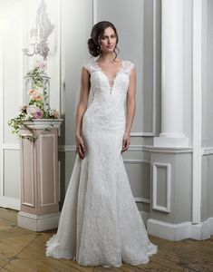Lillian West lillian west style 6370 Chantilly, beaded venice lace and tulle fit and flare embellished by a v-neck neckline.
