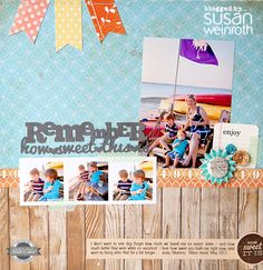 Great use of themed paper, like the wood pattern as the foundation, layout by @Susan Weinroth Blog - remember how sweet