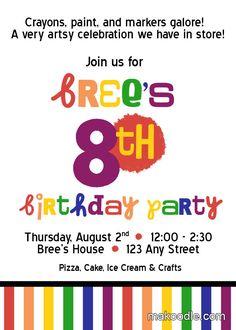 Art Party Invitation- Free Printable