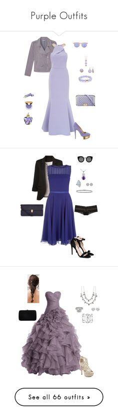 """""""Purple Outfits"""" by gone-girl ❤ liked on Polyvore featuring Lolita Lempicka, Tatcha, Le Specs, Nest, Rebecca Minkoff, Isaac Mizrahi, Ariella, Charlotte Olympia, Alexandra Alberta and WithChic"""