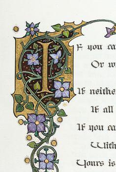 "Heading: (Sangorski, Alberto) Author: Kipling, Rudyard Title: ""If"" and ""Recessional"" Place Published: [London] Publisher: Date Published: [c. 1928] Description: 8 leaves of illuminated manuscript on vellum, by Alberto Sangorski, plus 2 blank vellum leaves."