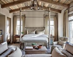 View photos of a home featuring French and Italian influences designed by David Michael Miller Associates. This rustic design is the perfect blend of elegant and relaxed. Contact us today to learn about interior design for your space! Modern Rustic Bedrooms, Rustic Bedroom Design, Master Bedroom Design, Home Decor Bedroom, Rustic Design, Bedroom Ideas, Bedroom Furniture, Glam Bedroom, Rustic Nursery