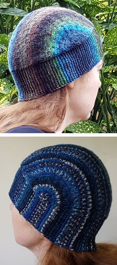 Free Knitting Pattern for U-Turn Hat Knit Flat - This hat is knitted flat from side to side WITHOUT short rows. Perfect for showcasing variegated yarn – especially for that stash sock yarn. Designed by Sybil R for fingering yarn.