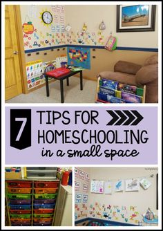 7 Tips for Homeschooling in a Small Space – practical tips for homeschooling families. Lots of organizing advice! Homeschool Supplies, Homeschool Kindergarten, Homeschooling, Organizing School Supplies, Daycare Spaces, Home Daycare, Space Preschool, Preschool At Home, Preschool Prep