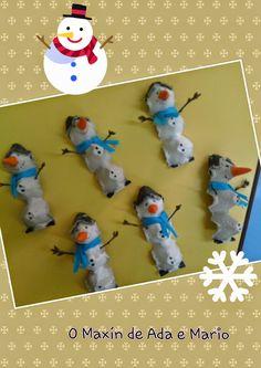 Manualidades infantiles, manualidades diy invierno, Manualidades diy con hueveras,  manualidades infantiles del invierno, winter diy, snowman diy, snowman, manualidad infantil muñeco de nieve,  muñeco de nieve diy, muñeco de nieve