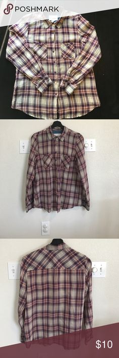 BCBG Generation Plaid women's shirt BCBG Plaid button front sheer shirt. Has lavender and pink tones to it. Long sleeves. Very light feel to it. 18 inches across chest, 26 inches long. 100 %cotton. Very good condition. BCBGeneration Tops Button Down Shirts