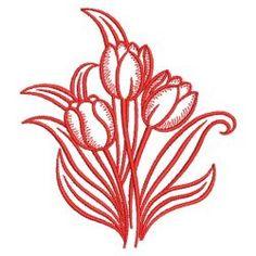 Redwork Tulips 2 16(Sm) machine embroidery designs