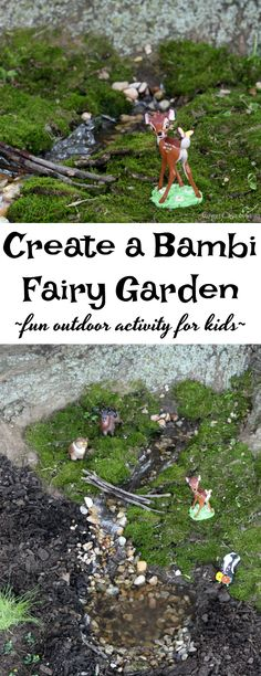 Create A Bambi Fairy Garden – Fun Outdoor Activity For Kids! {Bambi Movie Giveaway, Too! Bambi, Outdoor Activities For Kids, Family Activities, Disney Garden, Cute Kids Crafts, Disney Crafts, Outdoor Fun, Outdoor Spaces, Projects For Kids