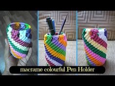 How to make Colorful Macrame Pen Holder Design #4 | From Waste macrame project - YouTube